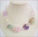 Pastel Crystals Raw Rocks Necklace (WB14)