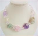 Pastel Crystals Raw Rocks Necklace (WB14)