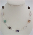 Mixed Quartz and Silver Necklace (CG44)