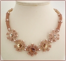 Champagne Sparkle - Beaded Swarovski Rivolis Necklace (BW016)