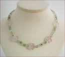 Rose Quartz Flowers with Prehnite Necklace (CG57)