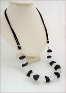Raw Rocks Crystal and Onyx Necklace on Silk (WB27)