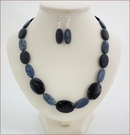 Navy Blue Dumortierite Necklace and Earrings (SS99)