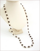 Hand Knotted Smoky Quartz & Pearl Necklace and Earrings (SM125)