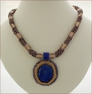 Gloriana - Lapis Lazuli Pendant with Golden Beadwork (BW21)