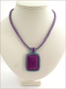 Magenta Magic - Beaded Cabochon on Beaded Rope (BW23)