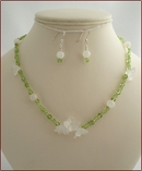 Snowdrop Peridot & Moonstone Necklace & Earrings (SM128)