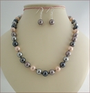 Grey & Pink Shell Pearls Knotted Necklace (SM130)