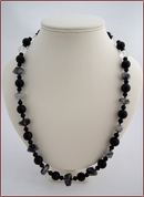 Tourmalinated Quartz & Black Onyx Necklace (SS102)