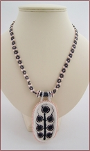 Porcelain Pendant on Beadwork Chain (BW45)