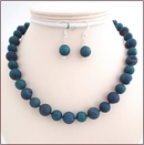 Teal Blue Druzy Quartz Necklace and Earrings Set (SS103)