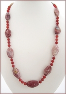 Leopard Jasper with Carnelian Knotted Necklace (LS101)