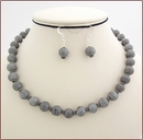 Silver Grey Druzy Agate Necklace & Earrings (SS107)