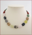 'Beach' Multicoloured Stones Knotted Necklace (BH107)