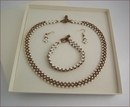 Pearl and Bronze Necklace Bracelet & Earrings Set (BW61)
