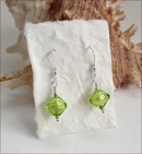 Lime Green Murano Glass Drop Earrings (DDE16)