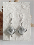 Silver Czech Lampwork Diamond Earrings (SSE18)