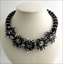 Urchin Black Swarovski Crystals Necklace BW105