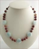 Amazonite and Matt Jasper Knotted Necklace (LS109)