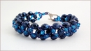 Metallic Blue Beadwork Bracelet (BB25)