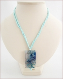 Sky Blue Sakura Agate Pendant on Silk (CGS02)