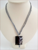 Grey Sakura Agate Pendant on Silk Necklace (CGS10)