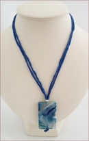 Blue with White Sakura Agate Pendant on Silk (CGS11)