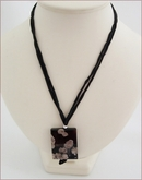 Black Sakura Agate Pendant on Silk Necklace (CGS12)