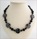 Snowflake Obsidian with Black Agate Knotted Necklace (SM135)