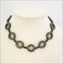 Olivia Metallic Olive Circles Necklace (BB118)